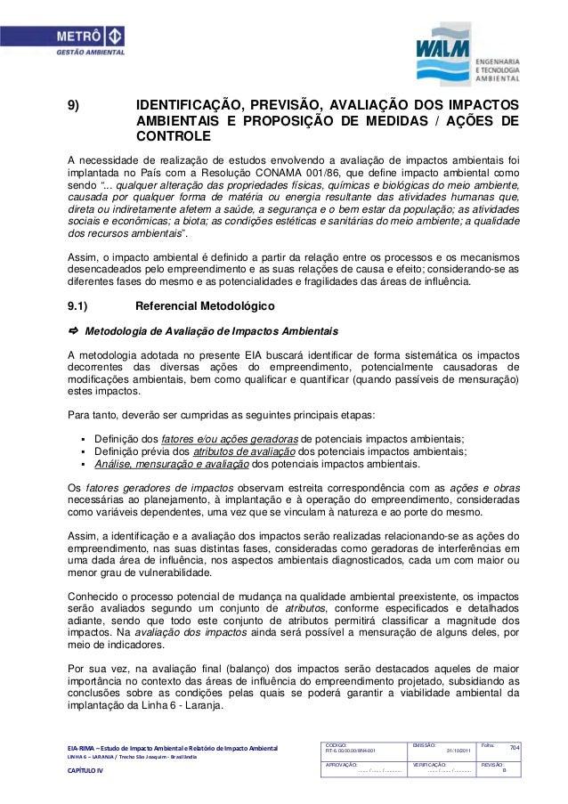 EIA‐RIMA–EstudodeImpactoAmbientaleRelatóriodeImpactoAmbiental LINHA6–LARANJA/TrechoSãoJoaquim‐Brasilân...