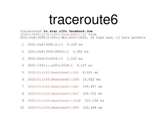 traceroute6  traceroute6 to star.c10r.facebook.com  (2a03:2880:2130:cf05:face:b00c::1) from  2001:6a8:3080:2:451c:db2:a92f...