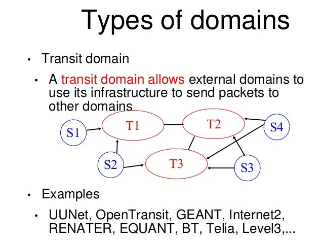 Types of domains  • Transit domain  • A transit domain allows external domains to  use its infrastructure to send packets ...