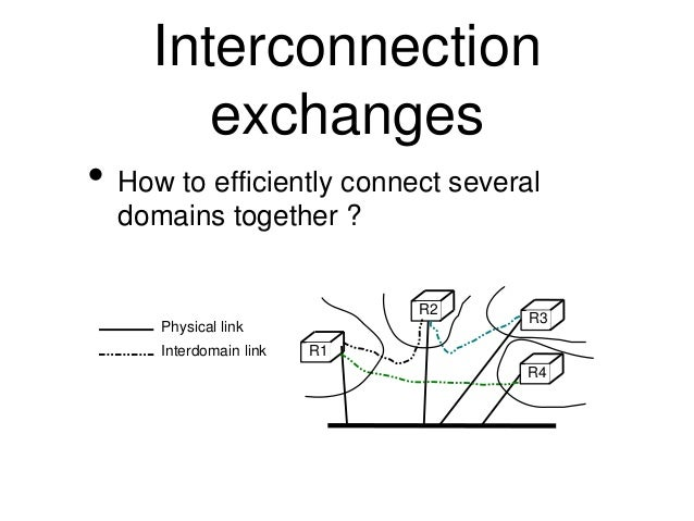 Interconnection  exchanges  • How to efficiently connect several  domains together ?  R1  R2  R3  R4  Physical link  Inter...