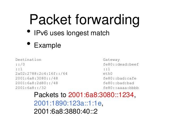 Packet forwarding  • IPv6 uses longest match  • Example  Destination Gateway  ::/0 fe80::dead:beef  ::1 ::1  2a02:2788:2c4...