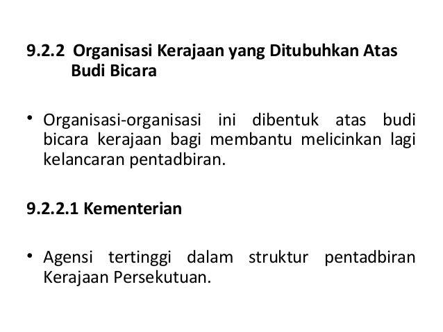 9 Jentera Pentadbiran Kerajaan Persekutuan Dan Negeri Di Malaysia