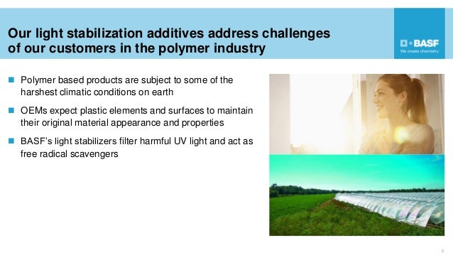 Our light stabilization additives address challenges of our customers in the polymer industry  Polymer based products are...