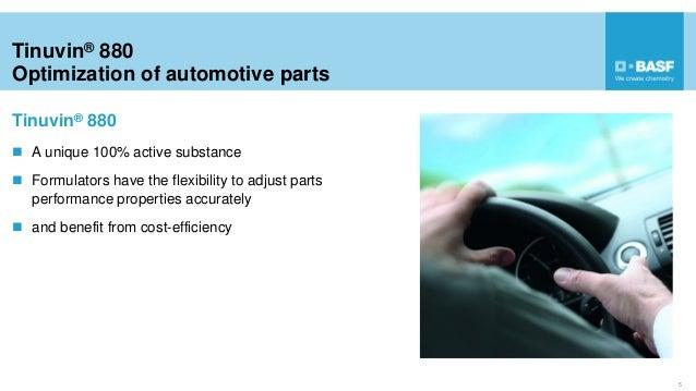 Tinuvin® 880 Optimization of automotive parts 5  A unique 100% active substance  Formulators have the flexibility to adj...