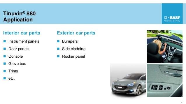 Tinuvin® 880 Application Interior car parts  Instrument panels  Door panels  Console  Glove box  Trims  etc. 6 Exter...
