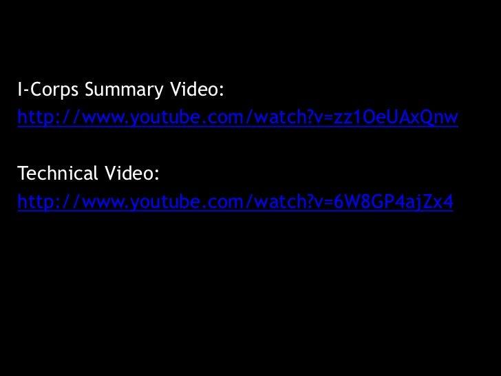 I-Corps Summary Video:http://www.youtube.com/watch?v=zz1OeUAxQnwTechnical Video:http://www.youtube.com/watch?v=6W8GP4ajZx4