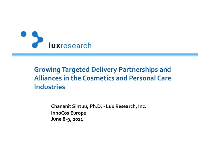 Growing Targeted Delivery Partnerships and Alliances in the Cosmetics and Personal Care Industries...