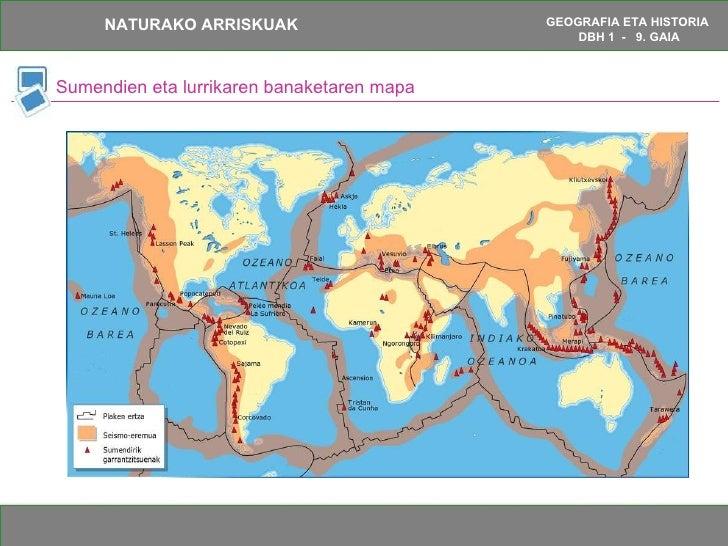 Sumendien eta lurrikaren banaketaren mapa