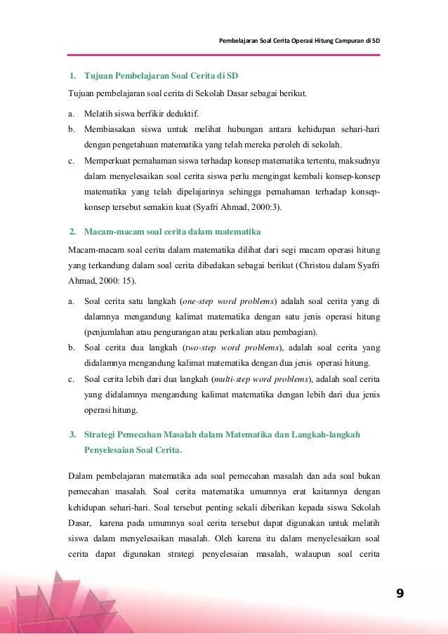 9 Pembelajaran Soal Cerita Operasi Hitung