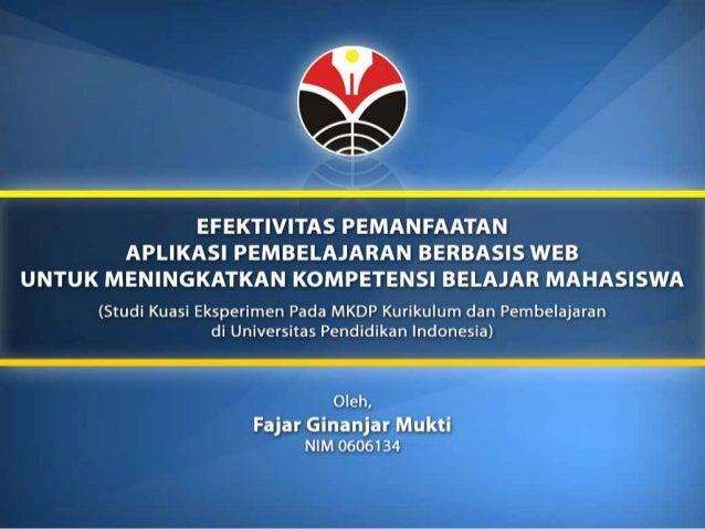 Presentasi Skripsi Efektivitas Pemanfaatan Aplikasi Pembelajaran Be