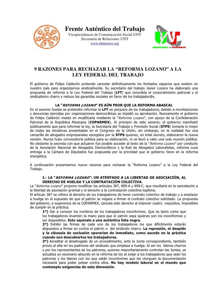 Frente Auténtico del Trabajo                         Vicepresidencia de Comunicación Social UNT                           ...