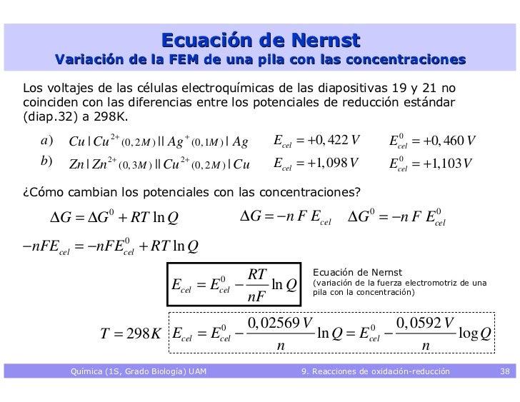 Resultado de imagen para ecuación de nernst ejemplos