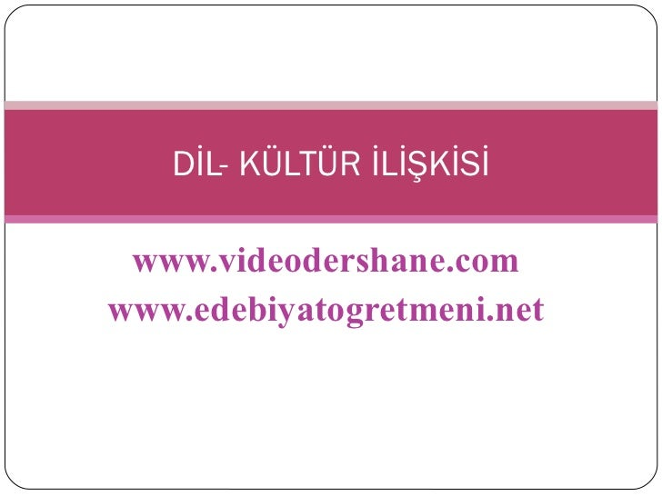 www.videodershane.com www.edebiyatogretmeni.net DİL- KÜLTÜR İLİŞKİSİ