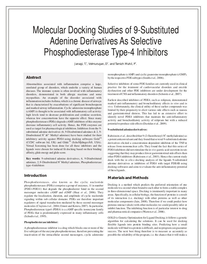 Molecular Docking Studies of 9-Substituted           Adenine Derivatives As Selective         Phosphodiesterase Type-4 Inh...