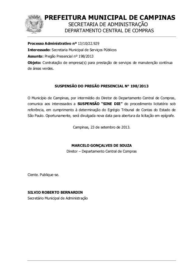 PREFEITURA MUNICIPAL DE CAMPINAS SECRETARIA DE ADMINISTRAÇÃO DEPARTAMENTO CENTRAL DE COMPRAS Processo Administrativo nº 13...