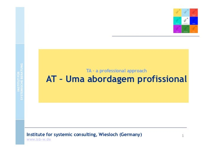 TA – a professional approach         AT – Uma abordagem profissionalInstitute for systemic consulting, Wiesloch (Germany) ...