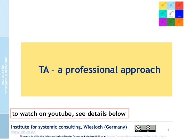 1 Institute for systemic consulting, Wiesloch (Germany) www.isb-w.de TA – a professional approach The content on this slid...