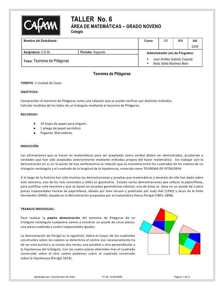 TALLER No. 6                                       ÁREA DE MATEMÁTICAS – GRADO NOVENO                                     ...