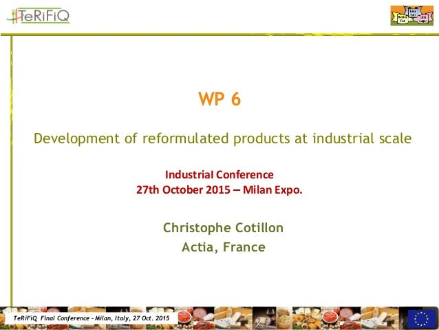 TeRiFiQ Final Conference – Milan, Italy, 27 Oct. 2015 WP 6 Development of reformulated products at industrial scale Christ...