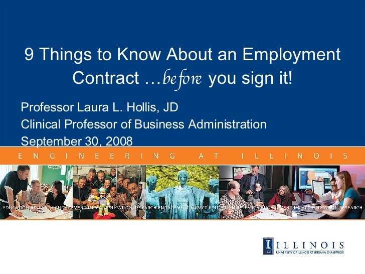 in Title 9 Things to Know About an Employment Contract … before  you sign it! Professor Laura L. Hollis, JD Clinical Profe...