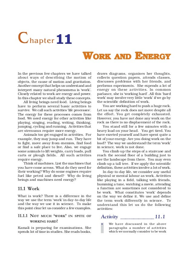 C hapter 11                                            WORK                AND            ENERGYIn the previous few chapte...