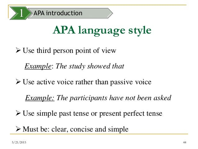 apa style paper written in third person Any sleep-deprived student knows those papers don't write themselves a living, breathing, person must produce the words on the page, and in certain contexts, you have to acknowledge that fact in the text itself let's go through several cases of how to write about yourself in an apa style paper.