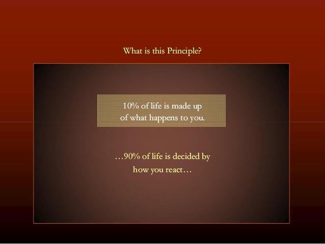 What is this Principle?What is this Principle? 1010% of life is made up% of life is made up of what happens to you.of what...