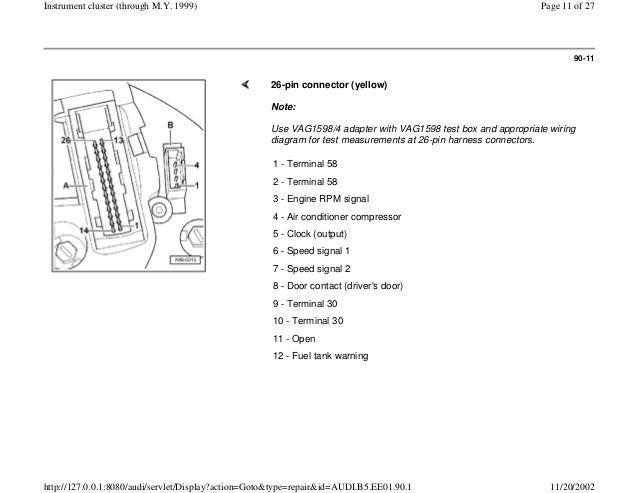 AUDI A4 B5 1.8L 1996 ELECTRICAL EQUIPMENT 90 1 instrument ...  Pin Connector Wiring Diagram Instrument on