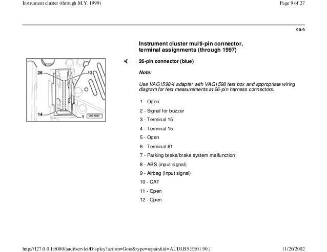 Audi A4 B5 18l 1996 Electrical Equipment 90 1 Instrument Cluster Loc\u2026rhslideshare: Wiring Diagram For 96 Audi A4 At Gmaili.net