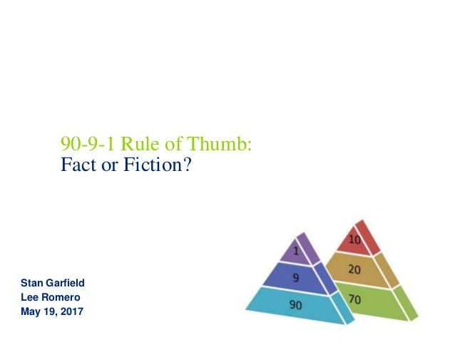 90-9-1 Rule of Thumb: Fact or Fiction? Stan Garfield Lee Romero May 19, 2017