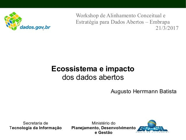 Ecossistema e impacto dos dados abertos Augusto Herrmann Batista Workshop de Alinhamento Conceitual e Estratégia para Dado...
