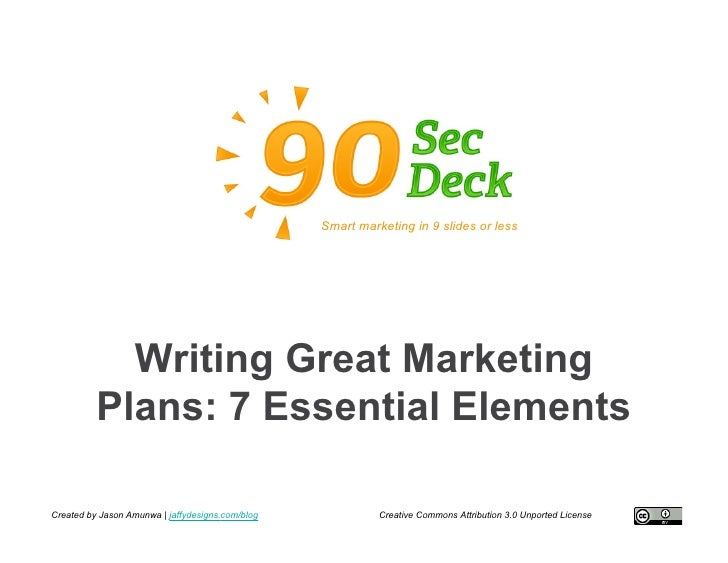 Smart marketing in 9 slides or less                 Writing Great Marketing           Plans: 7 Essential Elements  Created...