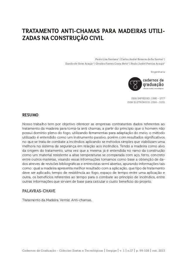 Cadernos de Graduação - Ciências Exatas e Tecnológicas   Sergipe   v. 1   n.17   p. 99-108   out. 2013 TRATAMENTO ANTI-CHA...