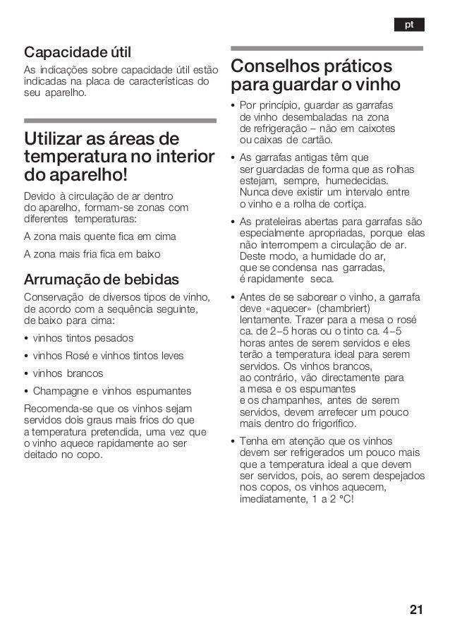 21 Capacidade útil As indicações sobre capacidade útil estão indicadas na placa de características do seu aparelho. Utiliz...