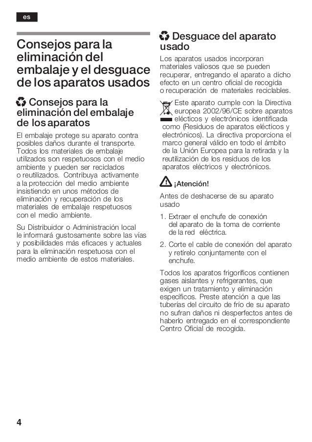 4 Consejos para la eliminación del embalaje y el desguace de los aparatos usados x Consejos para la eliminación del embala...