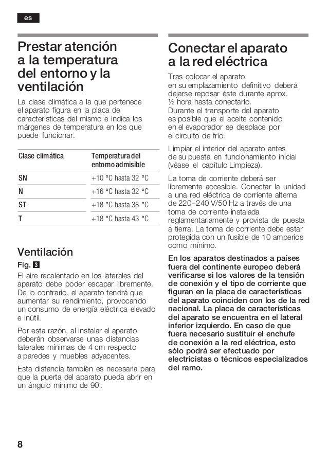 8 Prestar atención a la temperatura del entorno y la ventilación La clase climática a la que pertenece el aparato figura e...