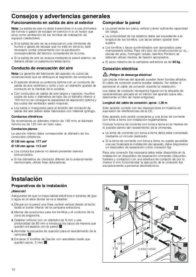 10 Consejos y advertencias generales Funcionamiento en salida de aire al exterior Nota: La salida de aire no debe transmit...