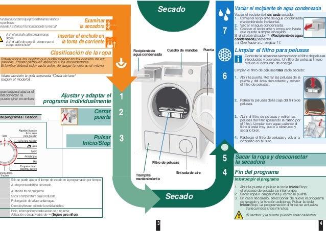 3 4 de programas / Descon. Vaciar el recipiente de agua condensada Vaciar el recipiente tras cada secado. 1. Extraer el re...