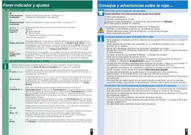 5 6 Panel indicador y ajustes Panel indicador (indicaciones de estado) (Filtro de pelusas/ Condensador Limpiar el filtro p...