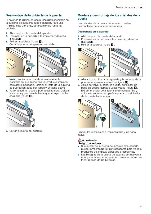 es Puerta del aparato 24 Montaje en el aparato 1. Introducir el cristal delantero por abajo en las sujeciones (figura !). ...