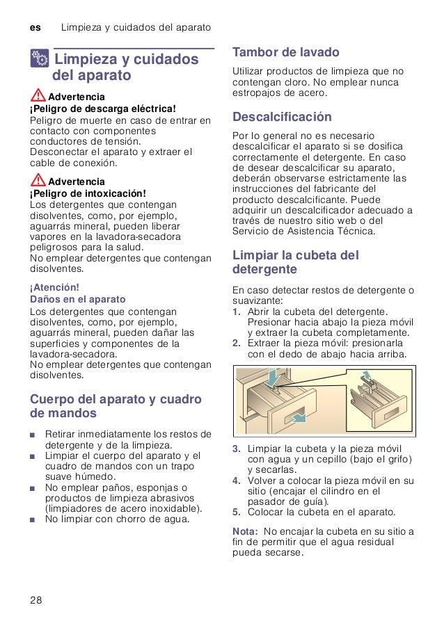 es Limpieza y cuidados del aparato 28 2 Limpieza y cuidados del aparato Limpiezaycuidadosdelaparato :Advertencia ¡Peligro ...