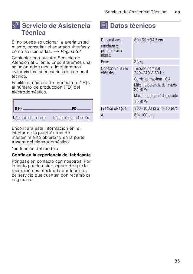 Servicio de Asistencia Técnica es 35 4 Servicio de Asistencia Técnica ServiciodeAsistenciaTécnica Si no puede solucionar l...