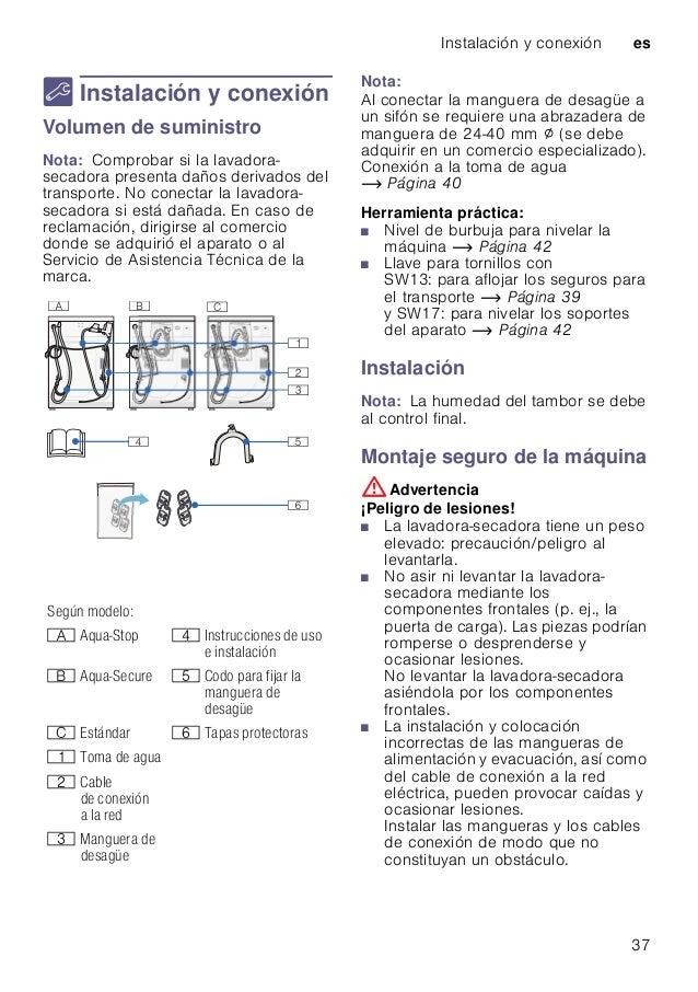 Instalación y conexión es 37 5 Instalación y conexión Instalaciónyconexión Volumen de suministro Nota: Comprobar si la lav...