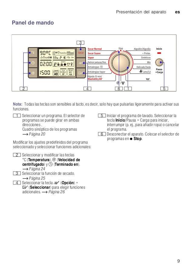 Presentación del aparato es 9 Panel de mando Nota: Todas las teclas son sensibles al tacto, es decir, solo hay que pulsarl...