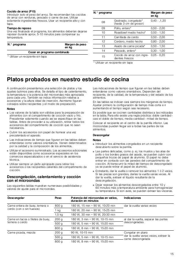 15 Cocido de arroz (P15) Introducir solo el peso del arroz. Se recomiendan los cocidos de arroz con verduras, pescado o ca...