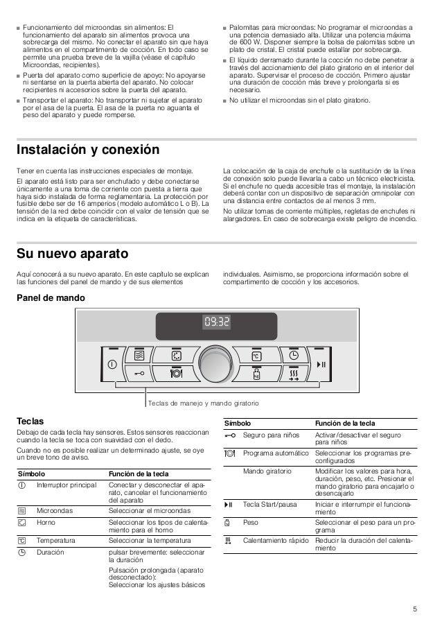 5 ■ Funcionamiento del microondas sin alimentos: El funcionamiento del aparato sin alimentos provoca una sobrecarga del mi...