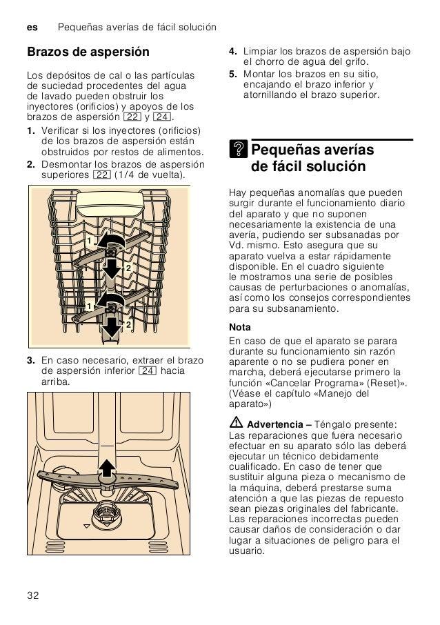 Pequeñas averías de fácil solución es 33 Bomba de evacuación Los restos de alimentos y partículas de suciedad gruesos no r...