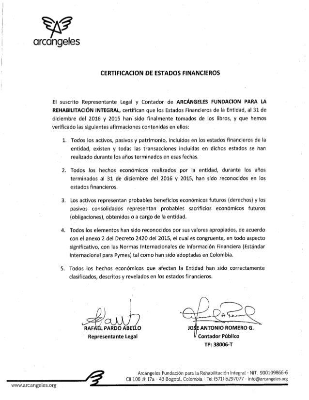 Certificación Estados Financieros 2016