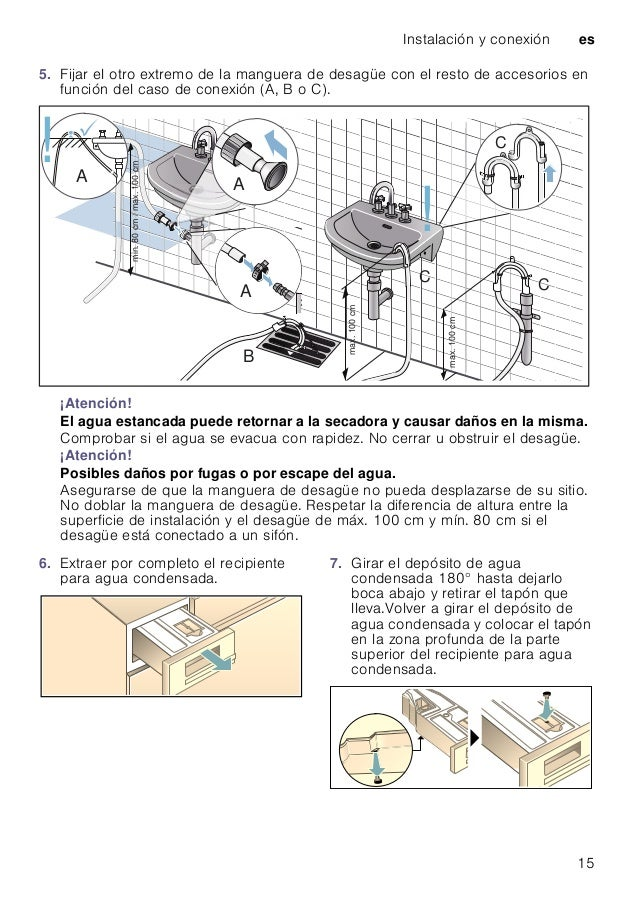 Instalación y conexión es 15 5. Fijar el otro extremo de la manguera de desagüe con el resto de accesorios en función del ...