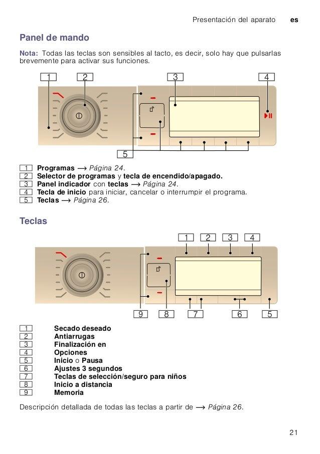 Presentación del aparato es 21 Panel de mando Nota: Todas las teclas son sensibles al tacto, es decir, solo hay que pulsar...
